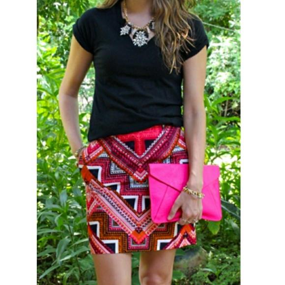 b22d05d084 Merona Skirts | Aztec Print Pink Mini Skirt Size 4 | Poshmark